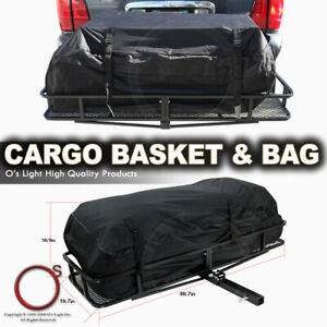 Universal Trailer Tow Hitch Rack Car Cargo Carrier Rear Folding Basket W bag