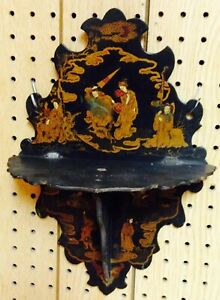 Antique Japanese 1850 S Oriental Chinoiserie Black Lacquer Shelf Hand Painted