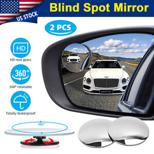 2x Round Blind Spot Mirror Hd Glass Frameless Convex Rear View 360 Stick On