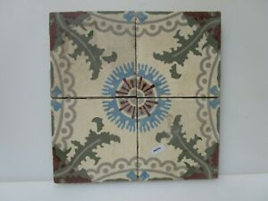 Vintage French Ceramic Floor Tile Set Tiles Old Architectural Floral X4 6 W