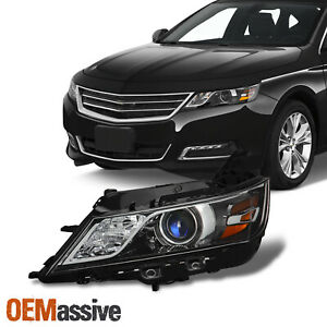 For 2014 2020 Chevy Impala Halogen Style Projector Black Headlight Driver Left
