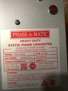 Phase a matic Pam 600hd Phase Converter 3 5 Hp Static New In Box