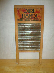 Vintage Washboard Dubl Handi Columbus Washboard Co Wood Galvanized Tin Usa