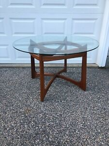 Adrian Pearsall Mid Century Modern Sculpted Solid Walnut Glass Top Dining Table