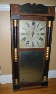 Boardman Antique Pillar And Scroll Clock 3 Feet Tall Wooden Works Pick Up Only