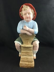 Antique Piano Baby German Heubach Bisque Boy On Chair 14 Figurine Damaged
