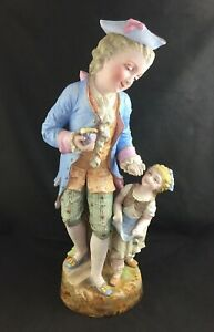 French Bisque Porcelain Father Daughter Large 19 Figurine