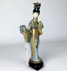 Early 20th Century Chinese Cloisonn Woman Figure With Gilt Sterling Silver