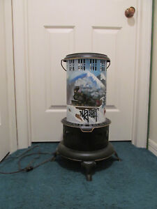 Painting By Hazlett Vintage Perfection Oil Heater Stove Re Purposed Light Lamp