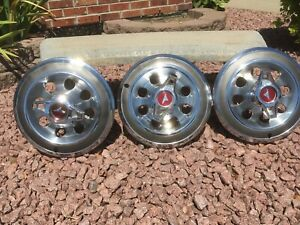 3 Buick Skylark 14 Spinner Hub Caps For 1965