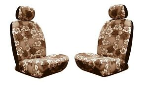 Tan Hawaiian Hibiscus Print Low Back Seat Covers Fit Most Suv s cars