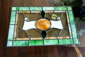 Antique Hand Made Slag Stained Glass Window Hanging Panel 20 X14