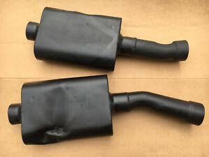 Flowmaster Mufflers 3 With 3 5 Inlet Dented Angled Pipe Old Muffler Pair Used