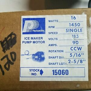 Packard Electric 15060 Ice Maker Pump Motor 1450 Rpm 1 Speed 115v 90 Amp Ccw