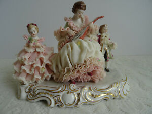 Dresden Figurine Irish Dresden Porcelain Lace Figure Mother Children Ireland