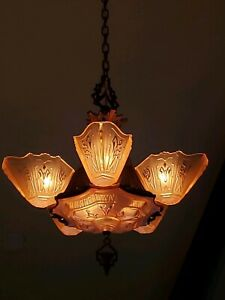 Exquisite All Original Markel Art Deco Slip Shade Chandelier Ceiling Fixture