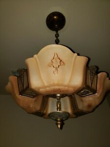 Rare 1930 S Markel Art Deco Nouveau Solid Bronze 4 Light Slip Shade Chandelier