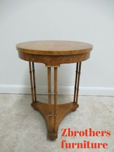 Vintage Baker Furniture Burlwood Faux Bamboo Pedestal Lamp End Table Petite