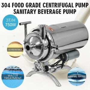 750w 304 Stainless Steel 1hp Food Grade Centrifugal Pump Sanitary Beverage Pump