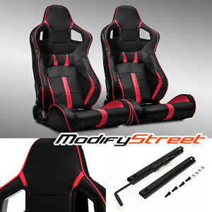 2 X Black Red Strip Pvc Leather Left Right Sport Racing Bucket Seats Slider