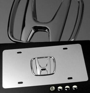 3d Emblem Front Rear Mirror Stainless License Plate W Caps For Honda Acura