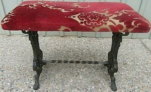 Rare Antique Wrought And Cast Iron Velours Bench Foot Stool Ca 1900 S Claw Feet