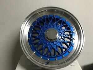 Set Of Four 15 Blue W Silver Lip Rs Style Rims Wheels Fits 4x100 4x114