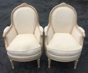 Pr Antique French White Louis Xvi Chic Painted Armchairs Bergeres