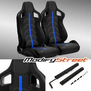 2 X Black Pvc Leather blue Strip white Stitch Left right Racing Bucket Seats