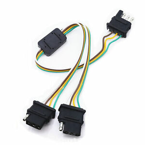 Trailer Light Wiring Harness Add 4 Pin Plug 4 Way Flat Adapter Wire Connector