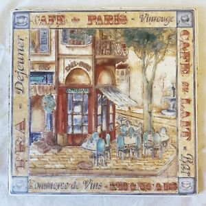 French Cafe Scene 1 Foot Square Decorative Ceramic Tile