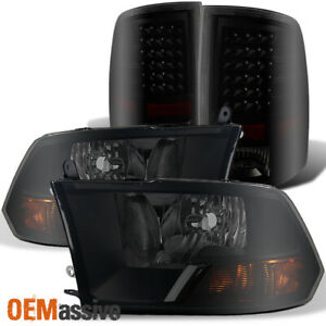 Fits 2009 2018 Dodge Ram 1500 2500 3500 Black Smoked Headlights Led Tail Lights