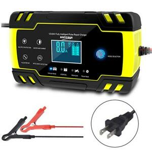 Portable Smart Battery Maintainer Charger For 12v 24v Motorcycle Car Truck