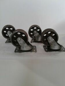 Industrial Factory Cart Caster Vtg Set Of 4 Coffee Table 2 Wheel Faultless Usa