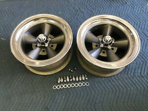 Vintage Pair 15x7 American Torque Thrust Style Polished Lip Chevy 5 On 4 3 4