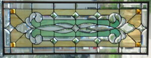 Stained Glass Transom Window Hanging 34 1 4 X 13 1 2 Brass Frame Edging