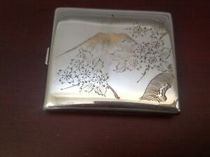 Japan Mixed Metals Copper Inlaid Sterling Silver Cigarette Case Box Free Ship