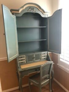 Delicate Hand Painted Antique French Secretary With Pullout Desk