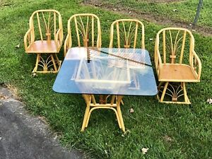Vintage Mcm Rattan Bamboo Dining Set 4 Swivel Chairs Possibly Ficks Reed