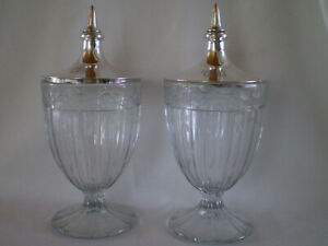 Pair Heisey Etched Glass Urns Or Jars With Sterling Lids