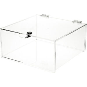 Plymor Clear Acrylic Locking Countertop Display Case 6 H X 12 W X 12 D