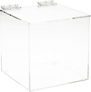 Plymor Clear Acrylic Display Case Box With Hinged Lid 6 X 6 X 6