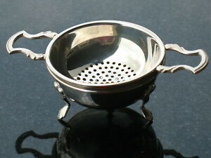 Mappin Webb London 925 Solid Sterling Silver 2 Pc Tea Strainer Drip Bowl Set