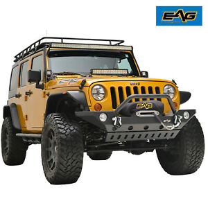 Eag Fit For 07 18 Jeep Wrangler Jk Steel Stubby Front Bumper With Skid Plate