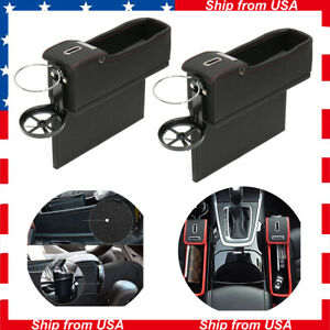 2pcs Black Pu Car Seat Catcher Organizer Storage Box Side Pocket Coin Cup Holder