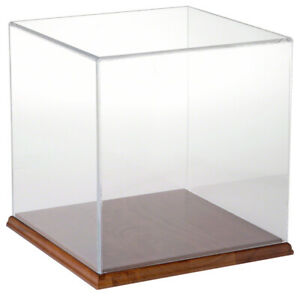 Plymor Clear Acrylic Display Case With Hardwood Base 10 X 10 X 10