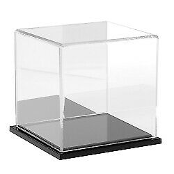 Plymor Clear Acrylic Display Case With Black Base mirror Back 4 X 4 X 4