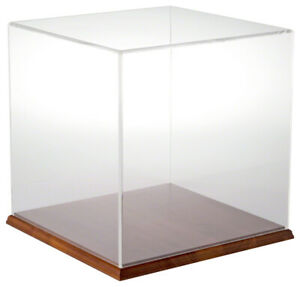 Plymor Clear Acrylic Display Case With Hardwood Base 12 X 12 X 12