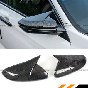 For 16 19 Honda Civic Real Carbon Fiber Wing Horn Style Mirror Cover Replacement
