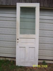 Exterior Antique Wood Door Approx 30 X 83 Large Pane Glass Can Ship